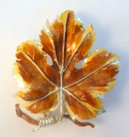 Vintage Large Enamel Vine Leaf Brooch By Exquisite.